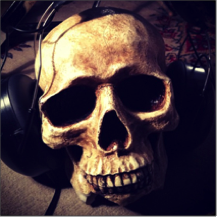 A skull with headphones